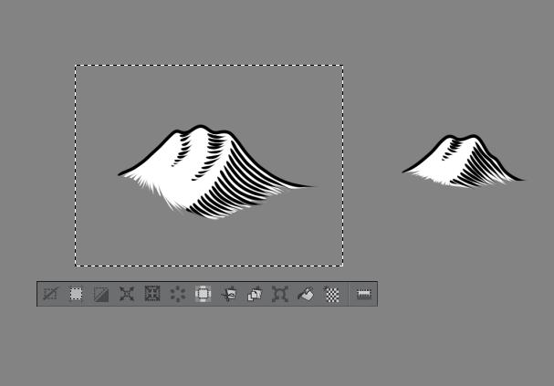 Hemos creado la imagen de una montaña. Está compuesta por dos colores, blanco y negro. El blanco nos va a ayudar a superponer unas imágenes con otras.