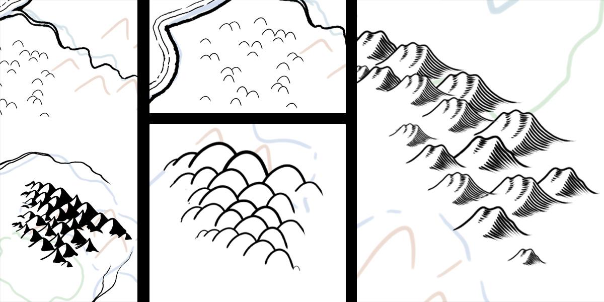 Aquí vemos varios ejemplos de diferentes montañas y colinas que podemos crear. Hay muchas formas de hacer las montañas y tocando las numerosas opciones del pincel puedes dar con la que más se adapte a tu estilo.
