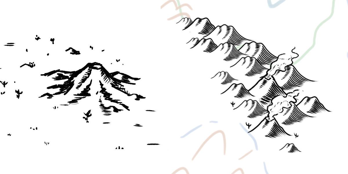 Puedes hacer algunas de las montañas a mano para distinguirlas del resto. ¡También modificar las ya creadas para crear volcanes!