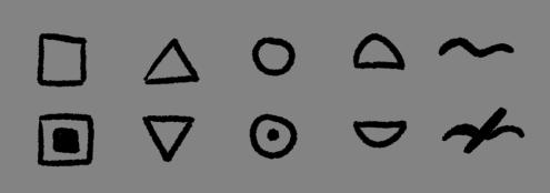 Por ejemplo: cuadrado = capital, punto = ciudad/pueblo… triángulo = ruinas…