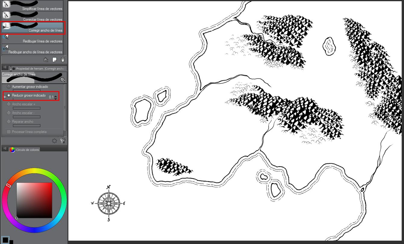 Mapa de fantasía - Reduciendo el borde