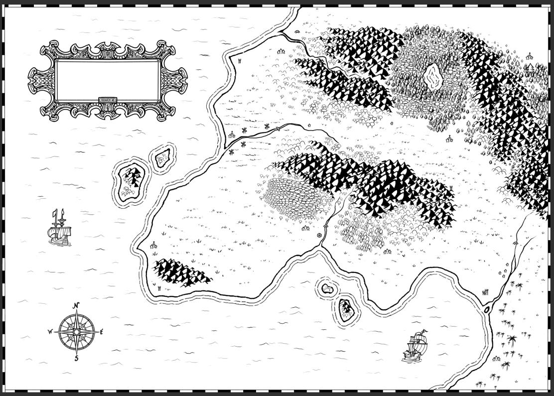Mapa de fantasía con bordes