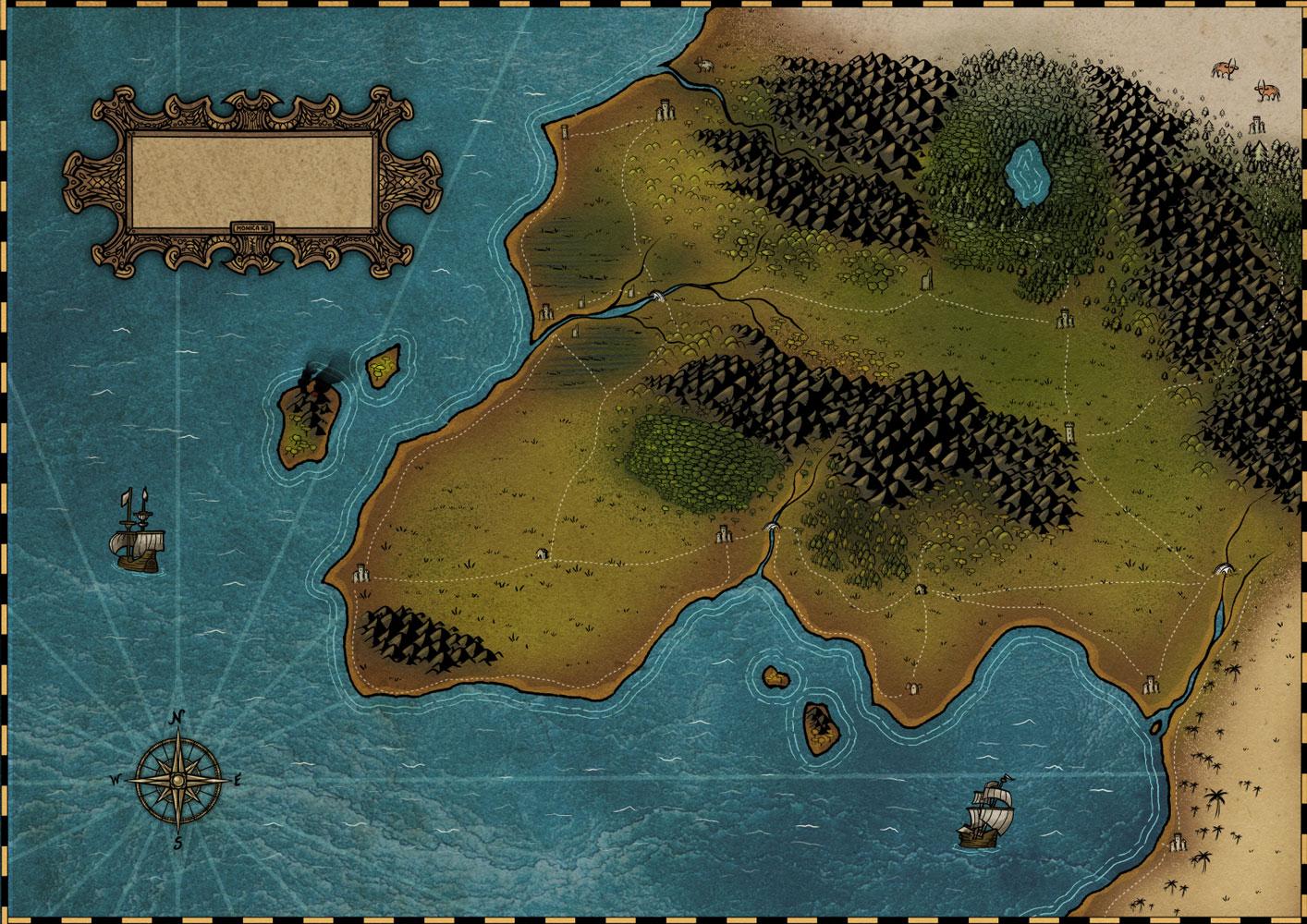 Mapa de fantasía coloreado