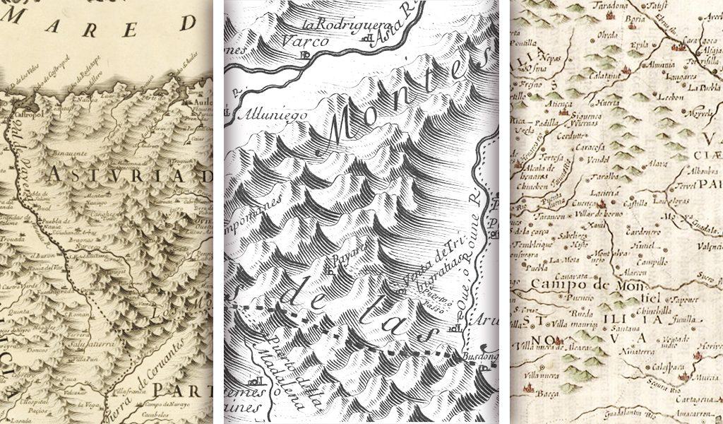 Fragmentos de mapas del siglo XVII. Podemos ver los diferentes estilos que se usaban para las montañas. ¿A que apetece una de piratas?