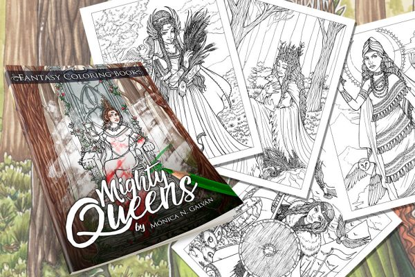 Mighty Queens: Fantasy Coloring Book